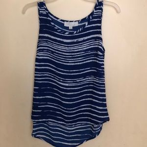 Olive and Oak polyester tank top.  Blue and white